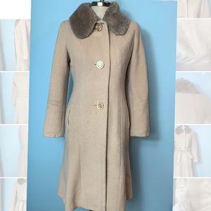 Max Mara Coat with Fur Collar Wool & Rabbit Sz 8
